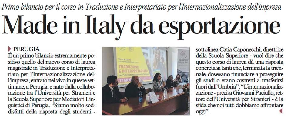 Corriere dell'UmbriaBilancio positivo per il corso di Laurea Magistrale